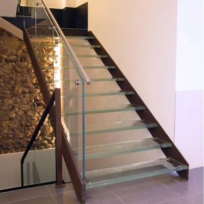 лестница с ограждением и ступенями из стекла Thema double