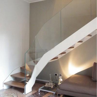 лестница со стеклянным  ограждением Thema double
