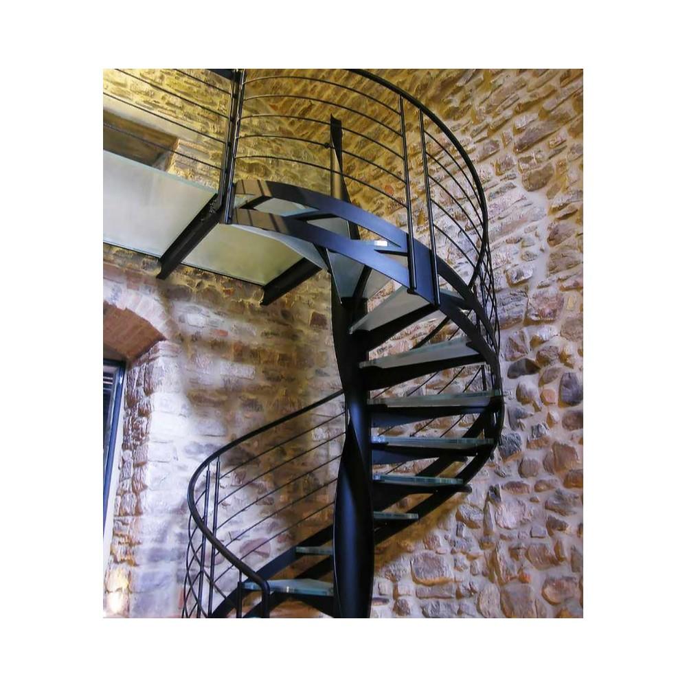 винтовая лестница со ступенями из стекла emme-94