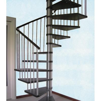 квадратная лестница с поручнем из дерева emme-82