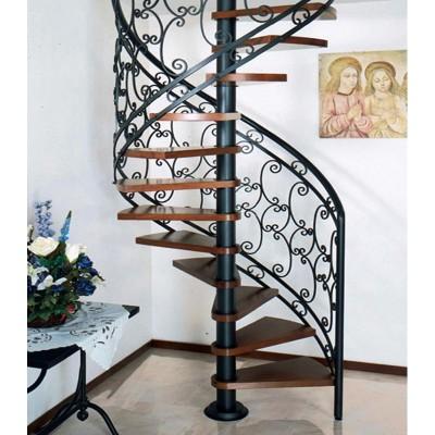 винтовая лестница с кованным ограждением emme-89